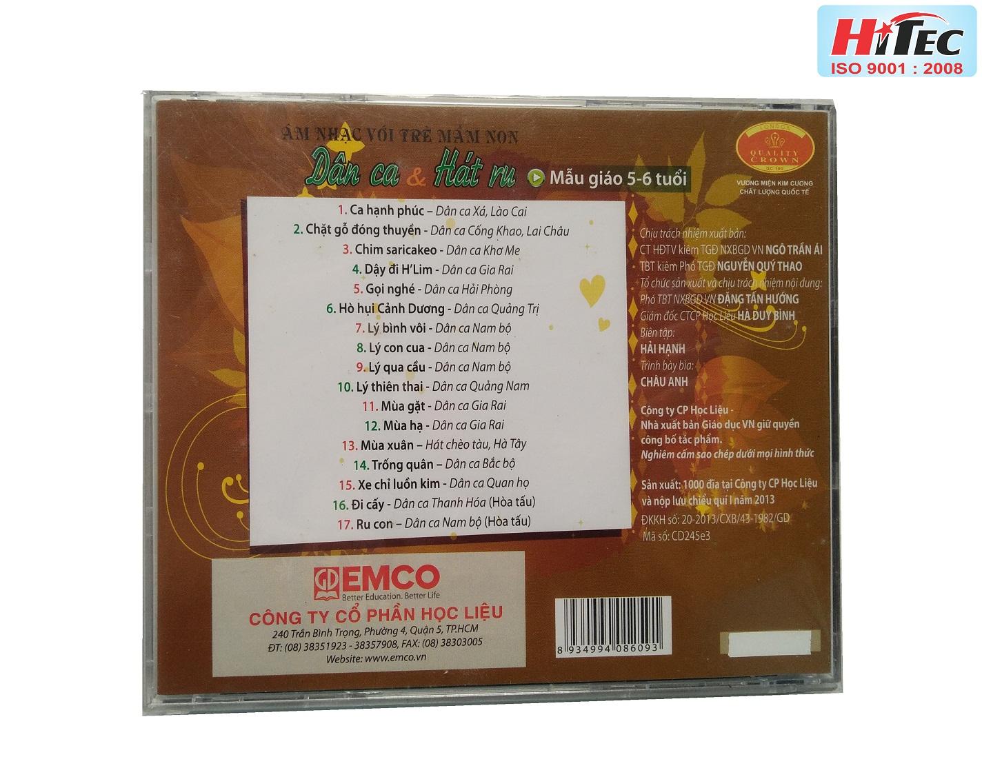 """""""Bộ đĩa CD: Các bài nhạc không lời, dân ca, hát ru  Chương trình GDMN (5-6 tuổi) """""""